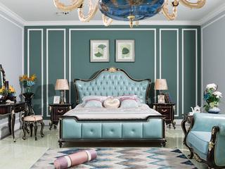 进口桃花芯木 新古典高端黑檀色1.8米大床卧房