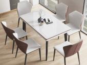 米勒 极简风格 棕色 D33钢化玻璃 餐桌