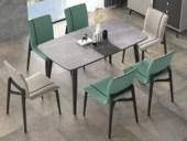米勒 极简风格 灰色 白蜡木 意大利岩板 可伸缩N08餐桌