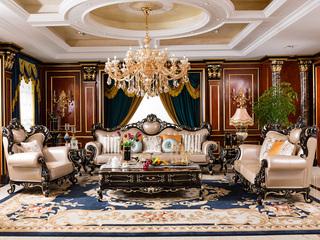 博洛妮亚 进口桃花芯木 新古典黑檀颜色牛皮沙发1+2+3组合