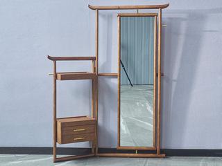 木之忆 北欧风格 精选白蜡木 优雅木纹 实木臻品 带置物柜 实用穿衣镜