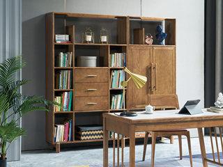 北欧风格 精选白蜡木 坚韧耐磨 天然清晰木纹 稳固承重 开放式书柜(左侧)