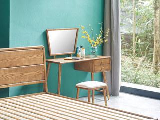 木之忆 北欧风格 北美进口白蜡木 坚固实木框架 光滑细腻触感 妆台
