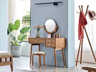 木之忆 北欧风格 北美进口白蜡木 坚固实木框架 光滑细腻触感 高清镜面 妆台
