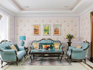 博洛妮亚 进口桃花芯木 新古典客厅牛皮沙发1+2+3组合