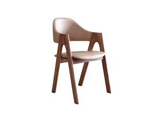 木之忆 北欧风格 北美进口白蜡木 舒适靠背 时尚皮艺 古铜色餐椅