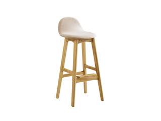 木之忆 北欧风格 北美进口白蜡木 原木色 浅灰布艺坐垫 高吧椅