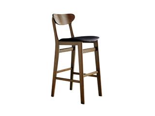 木之忆 北欧风格 北美进口白蜡木 胡桃色 黑色皮艺坐垫 高吧椅