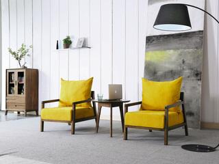 木之忆 现代简约 北美进口白蜡木 亲肤绒布 亮黄色休闲椅