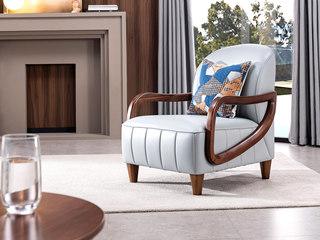 源木时光 时尚造型 仿真皮 精品胡桃木 柔软座包 极致舒适 实木扶手 休闲椅