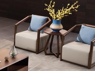 源木时光 北欧风格 坚固实木 密度海绵 优质麻布抱枕 仿皮休闲椅