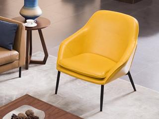 源木时光 现代简约 个性油蜡皮 铁艺休闲椅