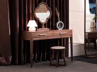源木时光 北欧风情 清晰天然木纹 光泽胡桃木 环保健康漆 妆台妆镜组合