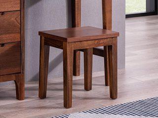 源木时光 北欧风情 清晰天然木纹 光泽胡桃木 实木面方妆凳