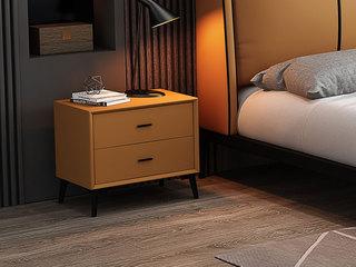 皮坊工艺 极简风格 时尚金橙色 扪皮 床头柜
