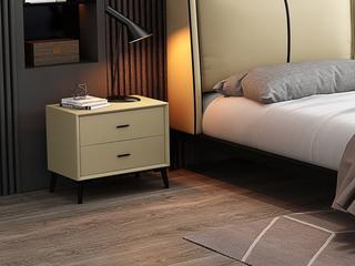 皮坊工艺 极简风格 温柔米黄色 扪皮 床头柜