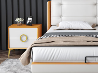 皮坊工艺 现代简约 金橙+白色 扪皮 床头柜