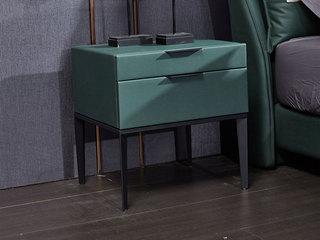 玛蒂芙 现代简约 科技布 板木结构 五金脚 军绿 床头柜