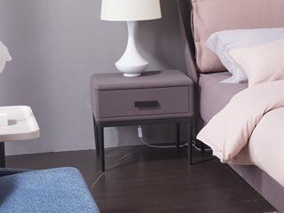玛蒂芙 现代简约 科技布 板木结构 五金脚 灰色 床头柜