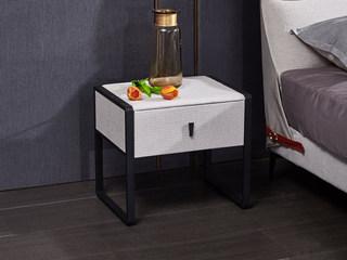玛蒂芙 现代简约 棉麻布 板木结构 五金脚 米色 床头柜