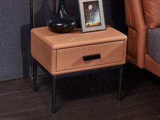 玛蒂芙 现代简约 科技布 板木结构 五金脚 橙色 床头柜