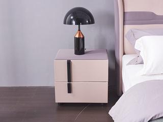 玛蒂芙 现代简约 仿皮 板木结构 粉色+灰色 床头柜