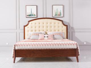博洛妮亚 达西美家系列 美式轻奢风格 舒适皮层+进品桃花芯 1.8米床
