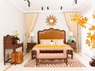 博洛妮亚 进口桃花芯实木床1.8米仿古银色轻奢美式床