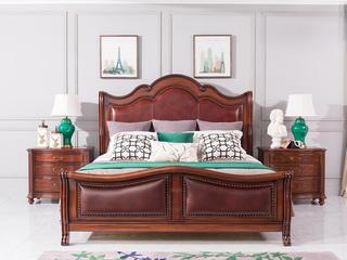 博洛妮亚 达西美家系列 美式轻奢风格 头条牛皮+进口桃花芯 奢华1.8米床