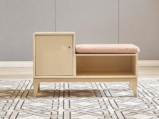 美克世家 简美风格 北美进口榉木坚固框架 棉绒布 换鞋凳