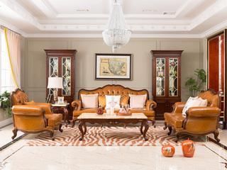 博洛妮亚 进口桃花芯木牛皮美式沙发组合