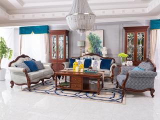 博洛妮亚 进口桃花芯木牛皮美式客厅沙发组合