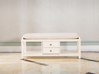 博洛妮亚 进口桃花芯木美式床尾凳