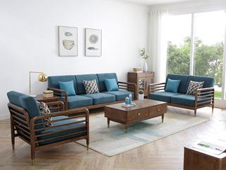 荣之鼎 北欧风格 优质泰国进口橡胶木 高密度海绵软包 轻奢沙发 沉稳厚重 沙发组合(1+2+3)