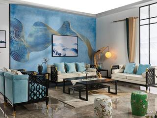 品匠坊 现代新中式风格 优质北美白蜡木框架 镂空型设计 大师操刀 绒布面料靠柔舒适  沙发组合(1+2+3)
