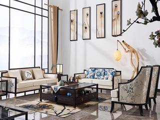 现代新中式风格 优质北美白蜡木框架 绒布+刺绣布 更舒适柔软 完美升级 沙发组合(1+2+3)