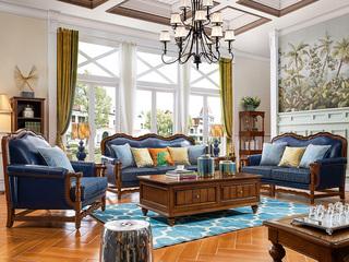 简美风格 沙发套装 典雅舒适 纯正油蜡皮 进口橡胶木 高弹海绵 人性化设计 皮布沙发沙发组合(1+2+3)