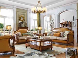 简美风格 进口橡胶木 坚固有形 金丝柚木色 沉稳厚重 店长推荐 美式沙发组合(1+2+3)