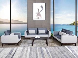 宏宇家私 北欧风格 坚固实木框架 舒适透气型布艺沙发 清新自然 沙发组合(1+2+3)