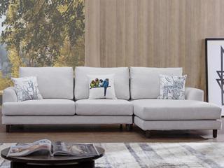 宏宇家私 北欧风格 舒适透气型布艺 小户优选型 全实木框架 质朴自然 转角沙发(3+左贵妃)