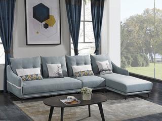 宏宇家私 现代简约风格 舒适透气型布艺 小户优选型 全实木框架 质朴自然 转角沙发(1+3+左贵妃)