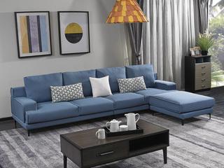 宏宇家私 现代简约风格 舒适透气型布艺 小户优选型 全实木框架 质朴自然 涤纶布艺转角沙发(3+3+足凳)