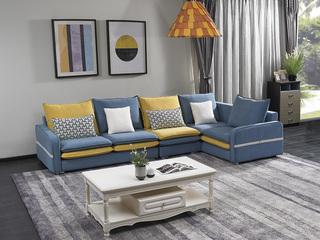 宏宇家私 现代简约风格 舒适透气型鹿皮绒 小户优选型 全实木框架 质朴自然 转角沙发(1+3+左转角)