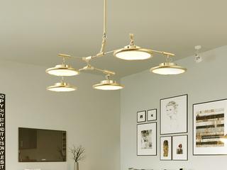后现代个性灯具 创意时尚款式客厅卧室餐厅吧台吊灯 北欧奢华 金色  5头