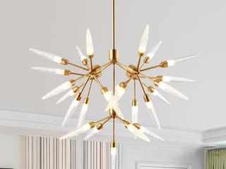 北欧后现代客厅卧室书房餐厅吊灯 简约创意个性羽花金色树形灯具 金色  25头