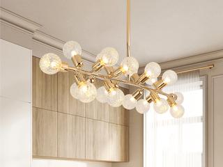 后现代北欧简约客厅服装店餐厅分子吊灯 艺术卧室创意玻璃吊灯 金色  18头