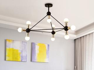北欧客厅吊灯后现代铁艺餐厅书房卧室服装店10头吊灯 黑色+金色  10头