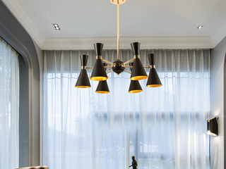 北欧后现代吊灯 设计师样板房客厅餐厅卧室书房创意个性艺术灯具 黑色+金色  6头