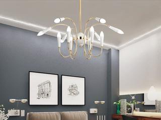 北欧后现代吊灯创意个性餐厅饭厅个性艺术 欧式现代简约客厅灯具 白色+金色  12头