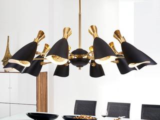 铝材烤漆灯体 多层电镀工艺 精工铁艺灯臂 适用于客厅餐厅卧室 现代风格多头酒杯创意吊灯 黑色+金色  10头
